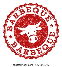 Barbeque stamp seal with grunged texture. Designed with cow head symbol. Red vector rubber stamp with BARBEQUE text and rosette round shape. Designed for steak houses, butchery shops, meat markets.