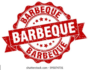 barbeque. stamp. sticker. seal. round grunge vintage ribbon barbeque sign