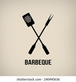 Barbeque tools in vintage style poster, vector illustration