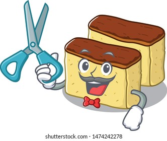 Barber castella cake isolated in the cartoon