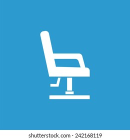 barber chair icon, isolated, white on the blue background. Exclusive Symbols