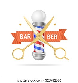 Barber Concept with Golden Scissors and Ribbon. Vector illustration