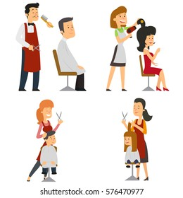barber cuts my hair and puts customers. vector illustration