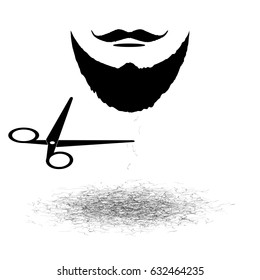 Barber elements isolated on white background. Monochrome vector illustration.