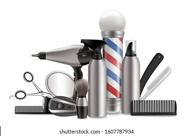Barber equipment, vector illustration. Realistic hairdresser tools mirror, scissors, comb, hairdryer, hair clipper, shave brush, shaving foam, barber pole other haircut and beard grooming accessories.