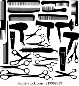 Barber (hairdressing) salon equipment - hairdryer, scissors and comb