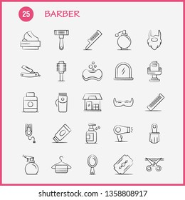 Barber Hand Drawn Icons Set For Infographics, Mobile UX/UI Kit And Print Design. Include: Barber, Face, Mirror, Barber, Beauty, Chair, Haircut, Barber, Icon Set - Vector