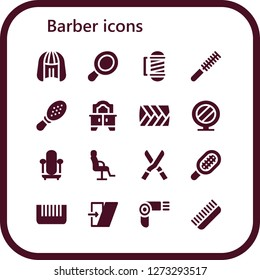 barber icon set. 16 filled barber icons. Simple modern icons about  - Wig, Hand mirror, Barber, Comb, Mirror, Plait, Salon chair, Shears, Shear, Hairdryer