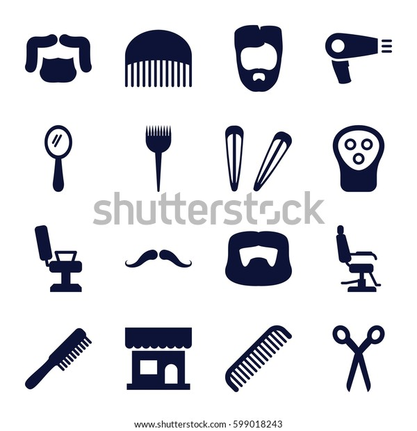 barber icons set. Set of 16 barber filled icons such as comb, mustache, hair dryer, beauty salon, man hairstyle, mirror, electric razor