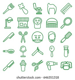 Barber icons set. set of 25 barber outline icons such as comb, man hairstyle, hair dryer, bllade razor, electric razor, mirror, hair brush, salon hair dryer, beauty salon
