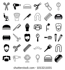 Barber icons. set of 36 editable filled and outline barber icons such as comb, hair dryer, man hairstyle, mirror, coloring brush, hair barrette, hairstyle, electric razor