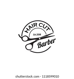 Barber logo design. Barbershop emblem. Hair cutting service. Beard shave service. Manly Salon logo template.