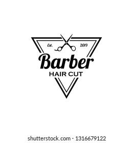Barber logo design. Barbershop emblem. Hair cutting service. Beard shave service. Manly Salon logo template.