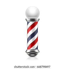 Barber pole isolated on white background