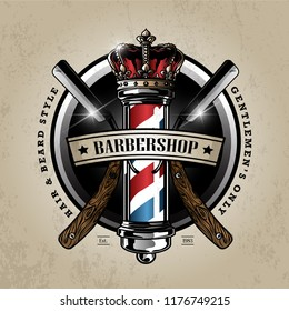 barber pole logo design
