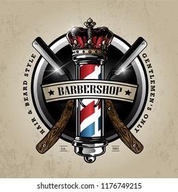 barber pole logo design