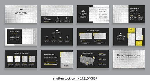 Barber Presentation Layout Design with Infographic