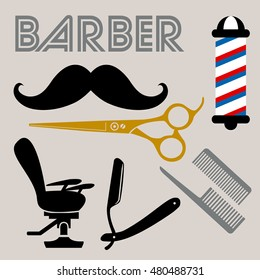 Barber related icons set