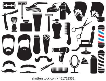 barber salon or shop vector icons set (shaving tools collection, comb, mustache, scissors, shears, haircut, razor, lotion, pole, hair dryer, chair, beard, cream)