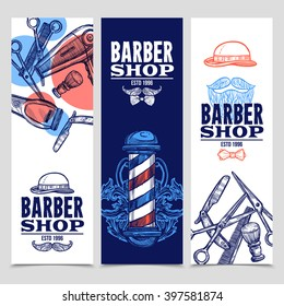 Barber shop 3 vertical flat banners set with beard mustache emblem and tools red blue abstract vector illustration