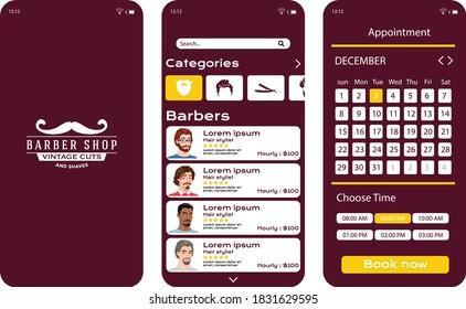 barber shop app ui kit design.barber app booking app ui kit design.barber barber shop app design concept