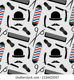 Barber Shop background, seamless pattern with hairdressing scissors, shaving brush, razor, comb, barber pole, mustache   and bowler. Vector illustration