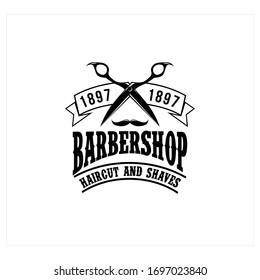 Barber shop badges. Barbers hand lettering. Design elements collection for logo, labels, emblems. Vector vintage illustration.