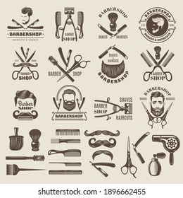 Barber shop badges. Scissors combs brush blade hair dryer recent vector logos for barber shops