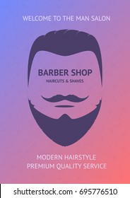 Barber shop banner, poster, card. Vector template for your business. Vector illustration of virile face with modern hairstyle and beard on colorful background.