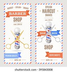 Barber Shop Banners Flyers Card. Vertical. Vector illustration