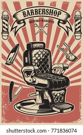 Barber shop. Barber chair on grunge background. Design element for poster, emblem, label, t shirt. Vector illustration