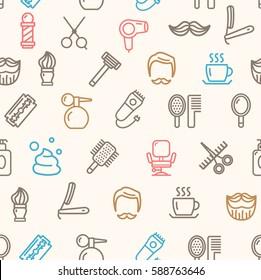 Barber Shop Color Pattern Background on a Light Services Design for Web and App. Vector illustration