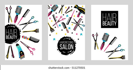 Barber shop, haircut & beauty salons banners, flyers, cards template. Inspired by fashion professional hairdressers tools.Vector illustration. Isolated elements on white background