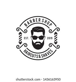 Barber Shop Haircuts & Shaves Logo