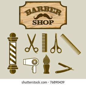 Barber Shop or Hairdresser icons and signpost, sepia tone