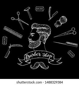 Barber shop hand drawn vector illustration. Sketch portrait of hipster man. Engraving label for barbershop. Hand drawn design elements