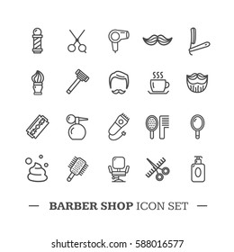 Barber Shop Icon Thin Line Set Style Equipment for Shaving and Grooming. Vector illustration