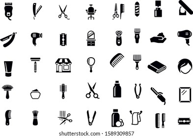 barber shop icons vector design