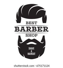 Barber shop isolated vintage label badge emblem. Vector illustration.