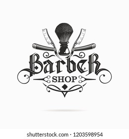 barber shop logo with gothic lettering