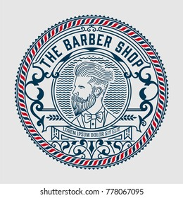 Barber shop logo with hipster man