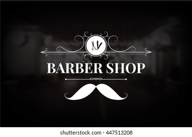 Barber Shop logo, include vintage design elements: mustache, swirls, dividers. Can be used as a header or template for logotypes, labels, cards. Vector illustration