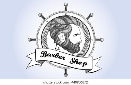 barber shop logo man beard hair retro vintage haircut