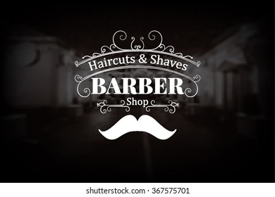 Barber shop logo with muctache and swilrs elements