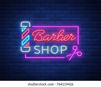 Barber shop logo neon sign, logo design elements. Can be used as a header or template for logos, labels, cards. Neon Signboard, Bright Lighting Advertising Hairdressing. Vector illustration.