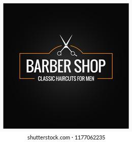 barber shop logo with barber scissors on black background
