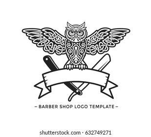 Barber Shop Logo Template. Celtic Owl Vector Illustration.