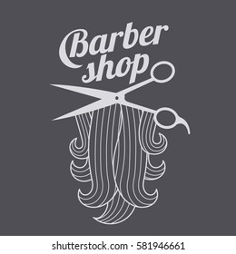 Barber shop logo templates. Hair, beard, razor, scissors, comb. Vector illustration isolated on color background.