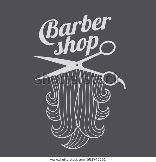 Barber shop logo templates. Hair, beard, razor, scissors, comb. Vector illustration isolated on color background.