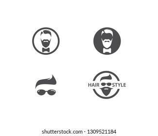 Barber shop logo vector icon template